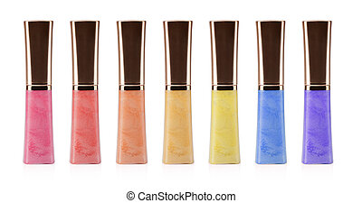 lip gloss bottle on white background