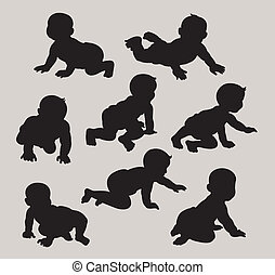 Baby Silhouettes - Baby black shadow symbols. Smooth and...
