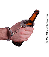 alcoholism with handcuff and bottle