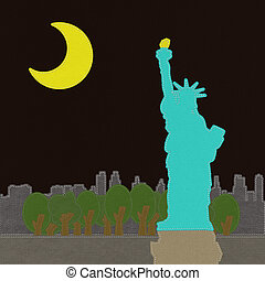 Statue of Liberty in stitch on fabric background