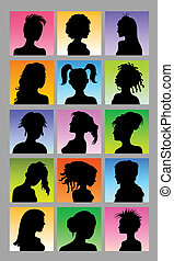 Female Avatar Silhouettes - Woman black shadow character...