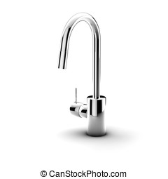 Clean simple faucet - Modern kitchen fixture on white...