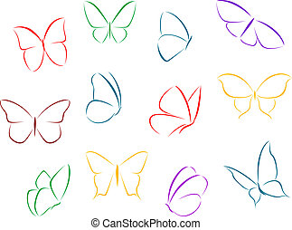 Butterflies color silhouettes - Butterflies silhouettes...