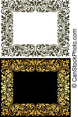 Floral frame in retro style with floursh elements and...