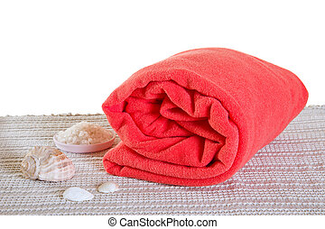 Big spa towel - Red big spa towel or blanket with seashells