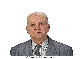 Portrait of a senior man isolated against a white...