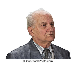 Portrait of a senior man isolated against white background.