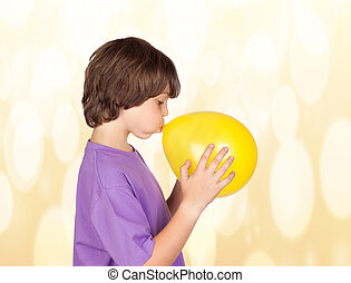 Little Boy Blowing Balloon - Portrait Of Small Cute Boy...