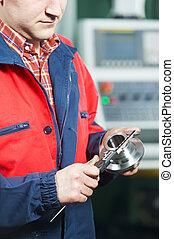 trabajador, medición, herramienta, mano, Calibrador