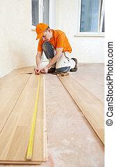 charpentier, ouvrier, joindre, parket, plancher