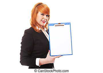 business woman holds clipboard and points - Redhaired...
