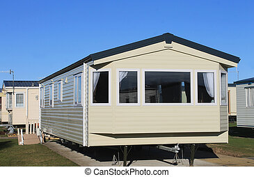 Exterior of modern static caravan in trailer park, England