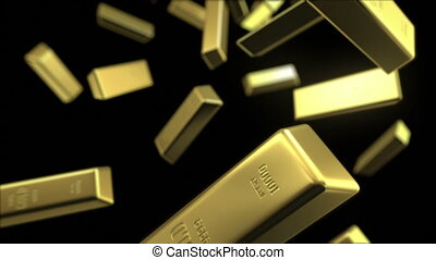 rain of gold bars, seamless looping 3d animation with depth...