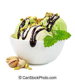 Pistachio ice cream with mint on a white background