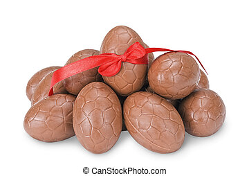 Chocolate eggs - Chocolate easter eggs with a red ribbon...