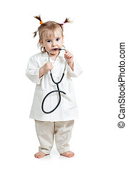 Funny child girl with doctor clothes over white background