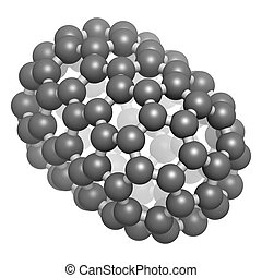Fullerene C100 molecule, chemical structure Atoms are...