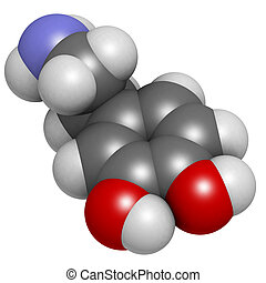 Dopamine neurotransmitter molecule, chemical structure....
