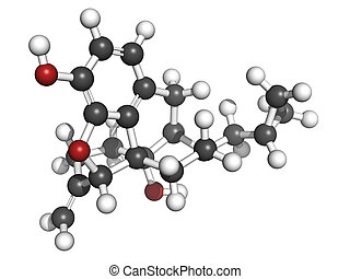 Nalmefene alcoholism treatment drug, molecular model. Atoms...