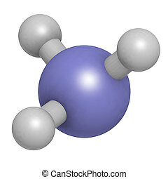 Ammonia (NH3), molecular model. Atoms are represented as...