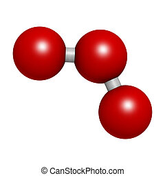 Ozone trioxygen, O3 molecule, chemical structure Atoms are...