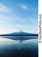 a inverted image of Mt Fuji - Mt Fuji in winter
