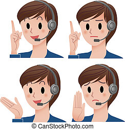 Customer service operator expressio - Set of customer...