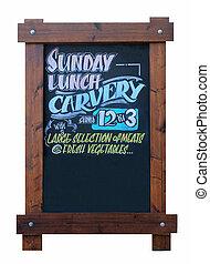 Sunday carvery pub sign isolated on white background.