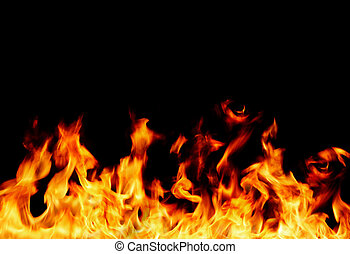 flame frame - Fire isolated on black background