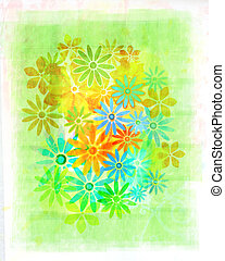 Vintage, watercolour flowers