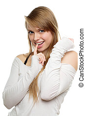 Pretty young woman biting her finger Isolated on white
