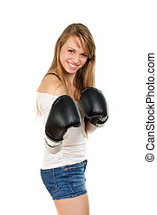 Young blonde with boxing gloves