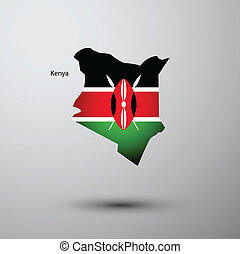 Kenya flag on map of country