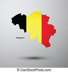 Belgium flag on map of country