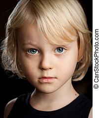 Close-up portrait of serious boy.