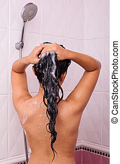 Cute Asian-Thai Girl washing her hair - Cute Asian-Thai Girl...