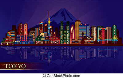 Tokyo city night skyline Vector silhouette illustration