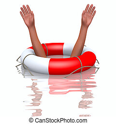 Rescue buoy and drowning hands, helping concept
