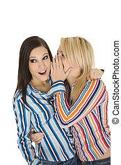 Friends - Female Caucasian friends tell secrets on white...