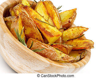 Potato Wedges - Wooden Bowl with Roasted in Rosemary Potato...