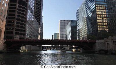 Chicago River Time Lapse 2 - Time lapse shot from a boat as...