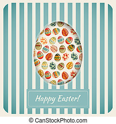 Easter Card. Eggs on striped Background. Vector...