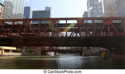 Chicago River Time Lapse - Time lapse shot from a boat as it...