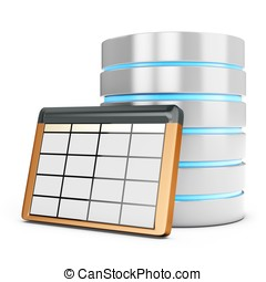 3d database table on white background