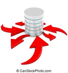 3d database flow with arrows on white background