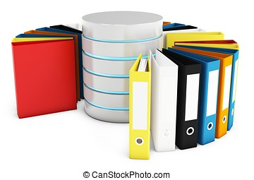 3d database with file holders on white background
