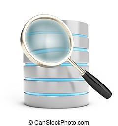 3d database searching with magnifying glass on white...