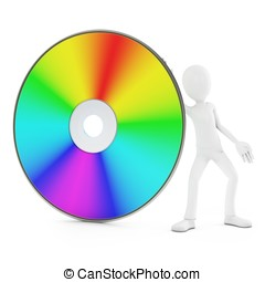 3d man with dvd disk
