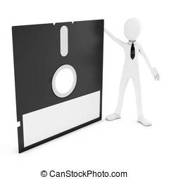3d man with floppy disk