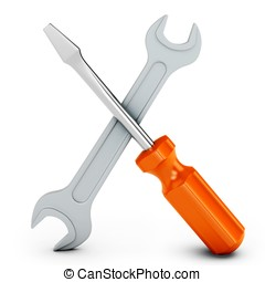 3d screwdriver and wrench tools on white background